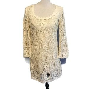 French Connection Ivory Lace Long Sleeve Dress